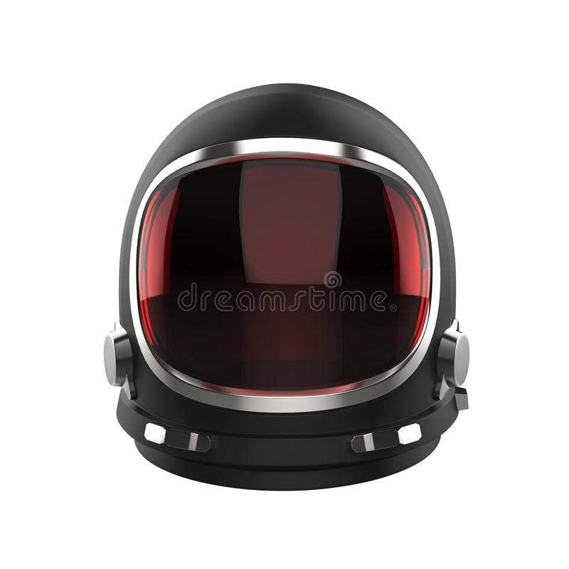 Black vintage astronaut helmet with red visor glass - isolated on white background royalty free illustration