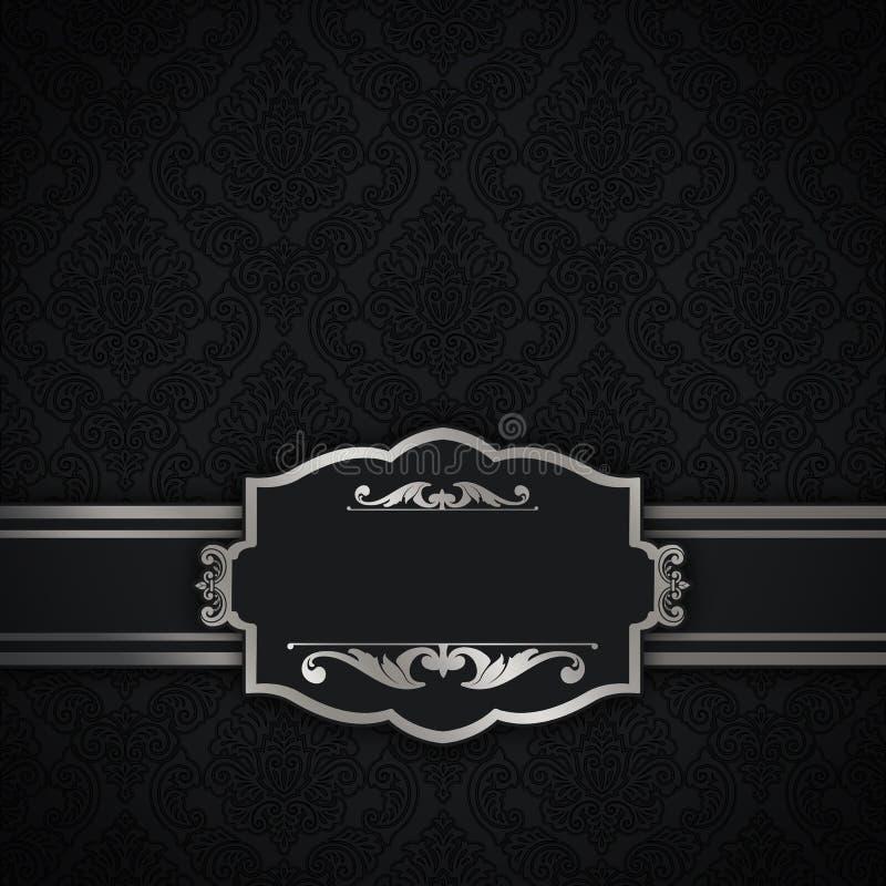 Download Black Vintage Background With Elegant Border And Frame Stock Illustration