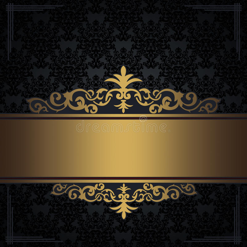 Black vintage background with gold border and corners. royalty free stock image