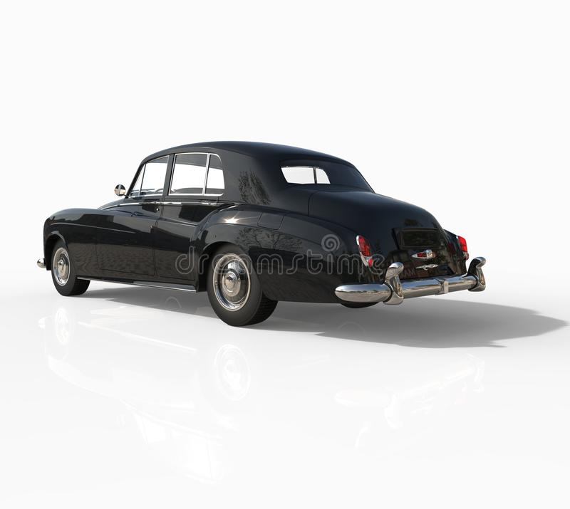 Free Black Vintage Car Shot On White Background - Rear Side View Stock Photo - 42659430
