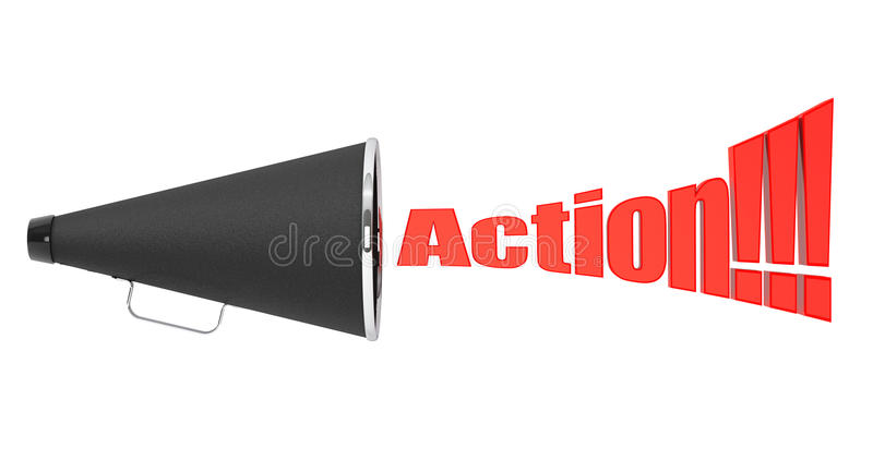 Black Vintage Megaphone with Action Sign. On a white background royalty free stock image