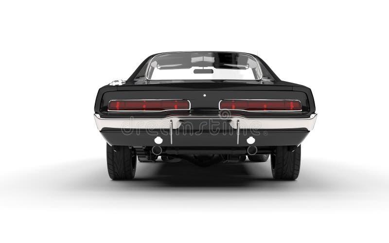 Black vintage muscle car - back view vector illustration