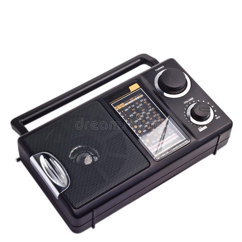 Black vintage radio to listen isolated station royalty free stock photo