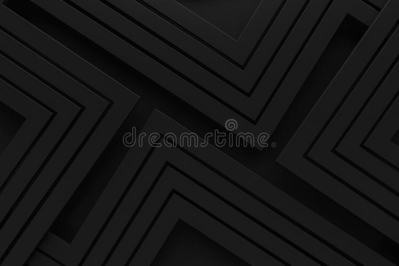 Black vintage retro pattern background line 3d rendering royalty free stock photography
