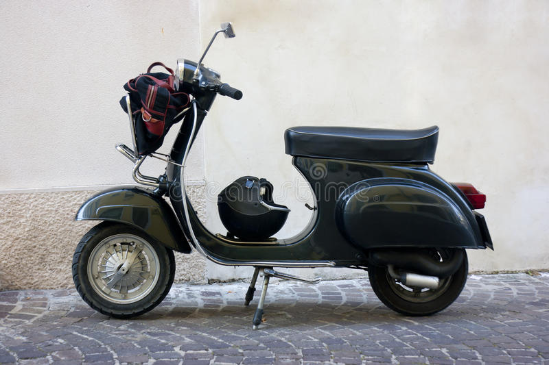 Download Black vintage scooter stock photo. Image of moped, restored - 25520274