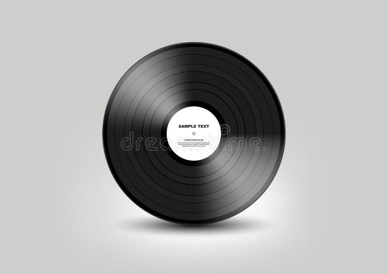 Black vinyl record isolated on white background, Vector vector illustration