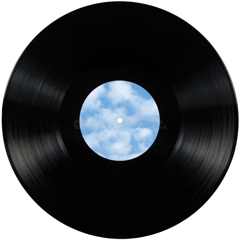 Black vinyl record lp album disc, isolated long play disk with blank empty label copy space in sky bule, clouds, summer cloudscape stock photos