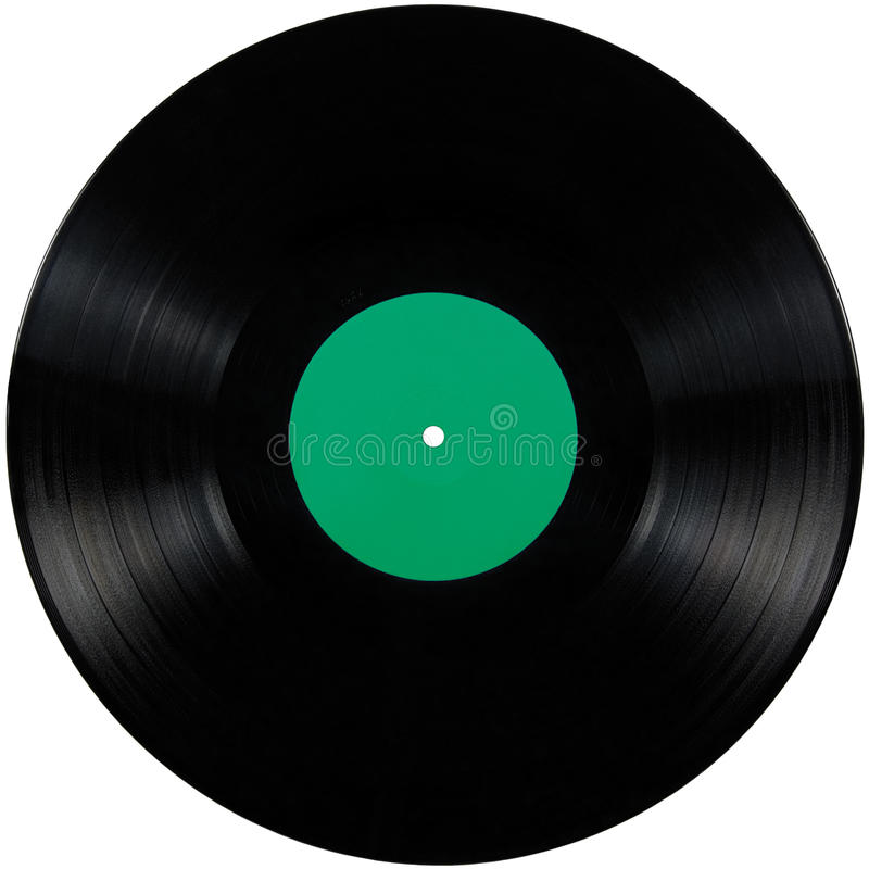 Black vinyl record lp album disc, large detailed isolated long play disk, blank empty green label copy space royalty free stock images