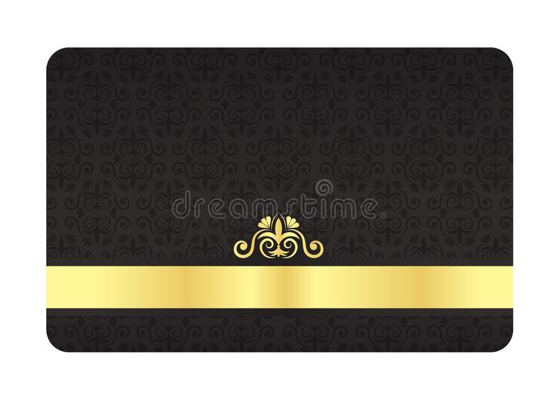 Black VIP Card with Vintage Pattern and Golden Lab royalty free illustration