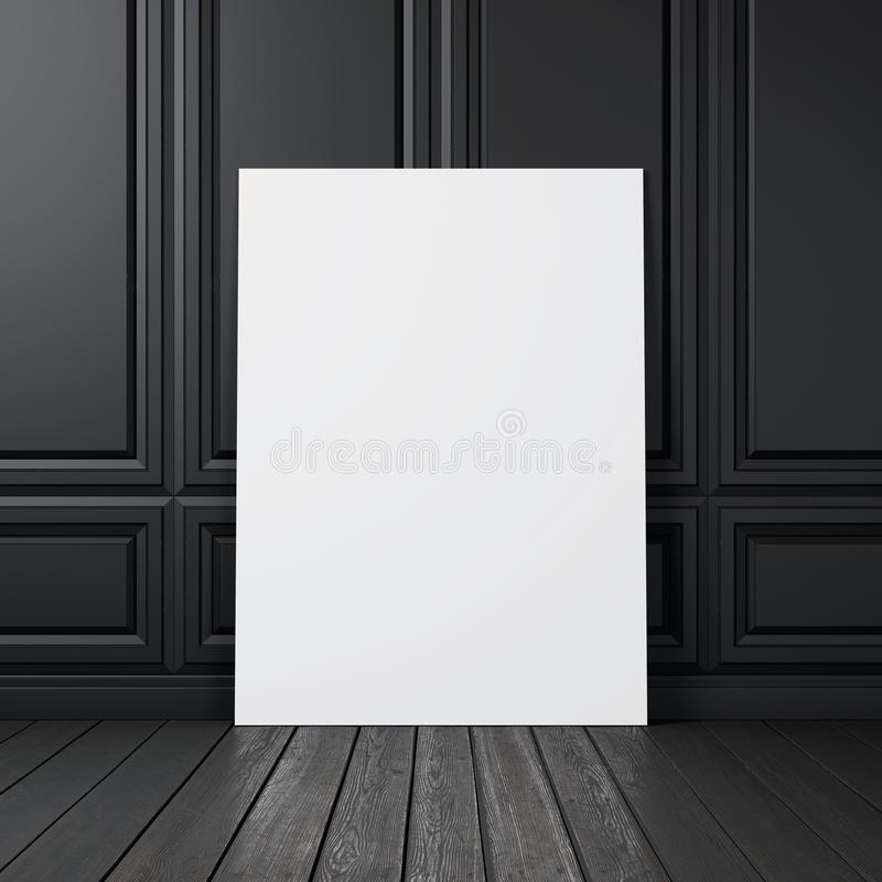 Black wall with blank poster. Interior with black wall and blank poster royalty free stock image