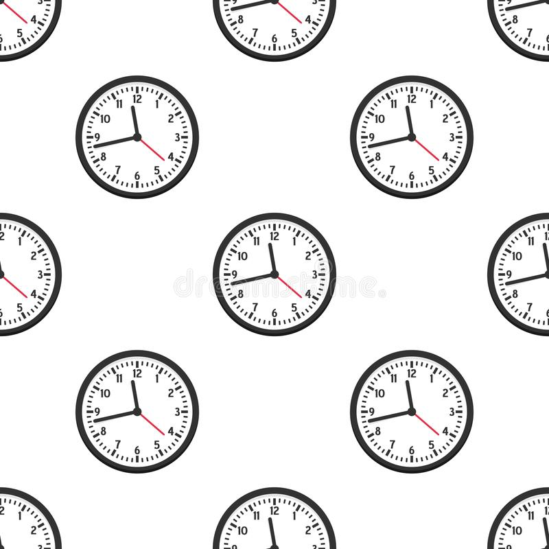 Black Wall Clock Flat Icon Seamless Pattern royalty free illustration