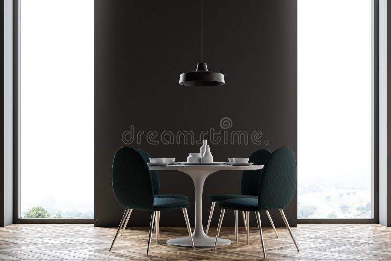 Black wall dining room, minimalism vector illustration