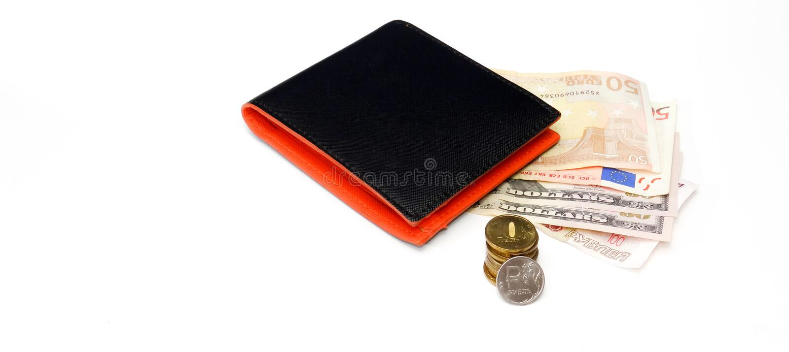 Black wallet with euro dollar rubles coins stock images