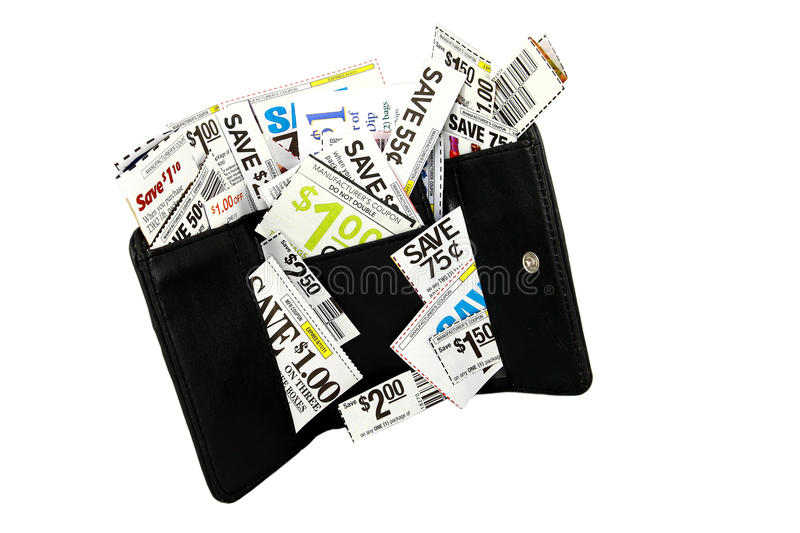 Black Wallet Filled With Coupons Isolated On White. A black wallet filled with money saving grocery coupons instead of cash photographed on a white background royalty free stock images