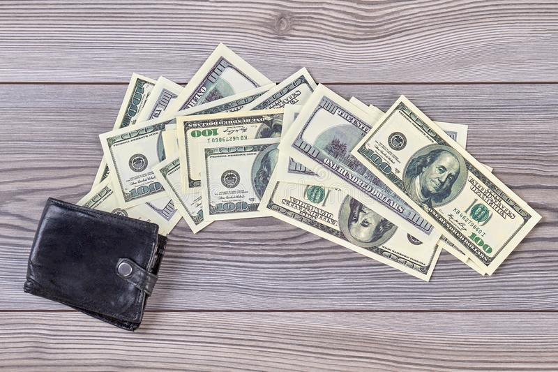 Black wallet and money. stock photo