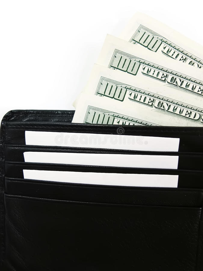 Black Wallet with the Pack of Dollars Close Up royalty free stock photos