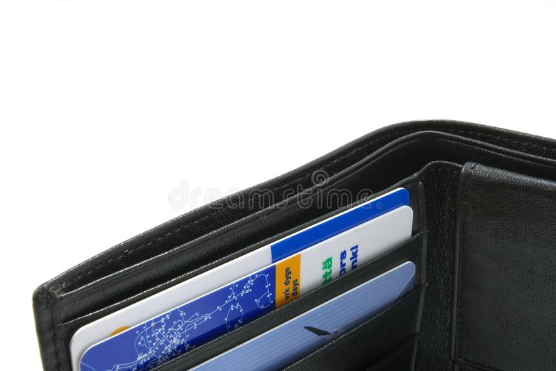Black wallet with several credit cards royalty free stock photography