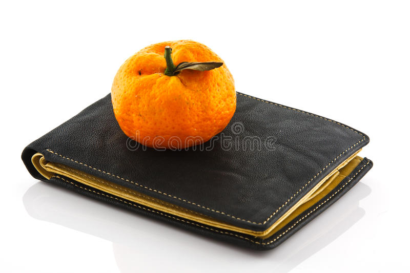 Black wallet on white isolated. Background royalty free stock images
