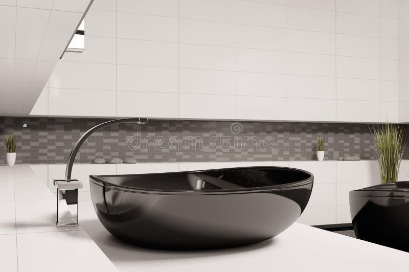 Black washbasin in bathroom 3d royalty free illustration