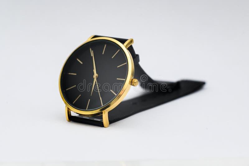 Black watch for men on white background. Black watch for men on white background royalty free stock photo