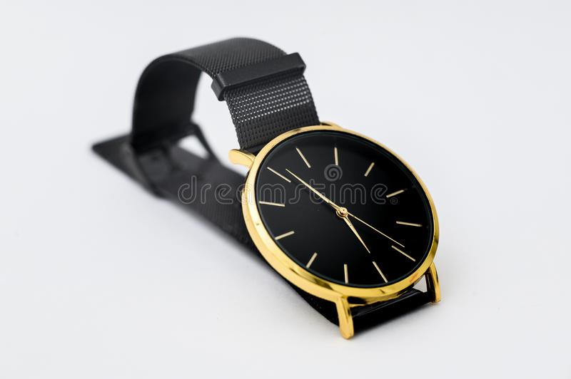 Black watch for men on white background. Black watch for men on white background royalty free stock photography