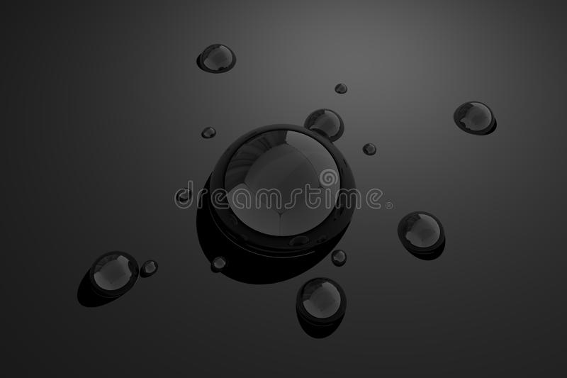 Black Water Drops. Black - Dark Grayscale Water Drops Background. 3D Generated Dark Gray Water Drops Background stock illustration