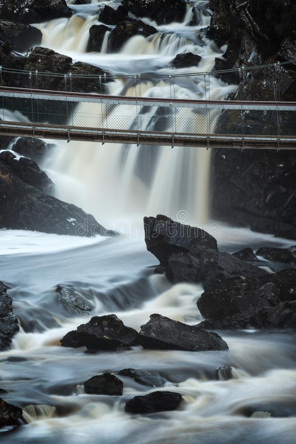 Black Water river in Scottish Highlands, Rogie Falls near Tarvie. royalty free stock photography