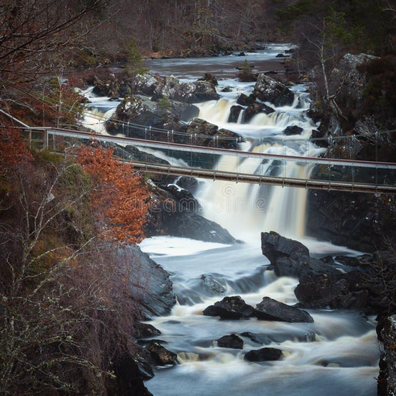 Black Water river in Scottish Highlands, Rogie Falls near Tarvie. royalty free stock photo
