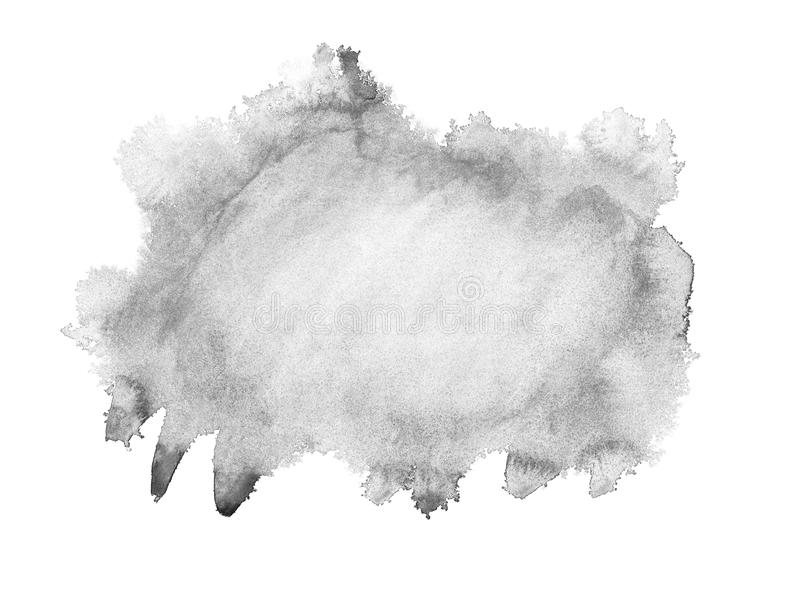 Black watercolor hand drawn isolated wash spot on white background for text design, web. Abstract brush paint paper grain texture. Illustration element for royalty free illustration