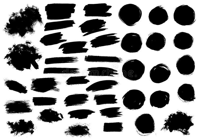 Black watercolor paint marker vector strokes blobs. Paint blobs and daubs, black watercolor blots and blotches, marker or felt tip pen strokes. Vector grunge vector illustration
