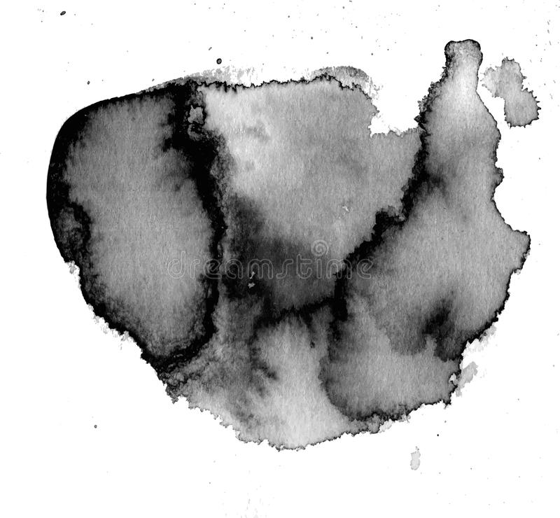 Black watercolor stain royalty free stock photo