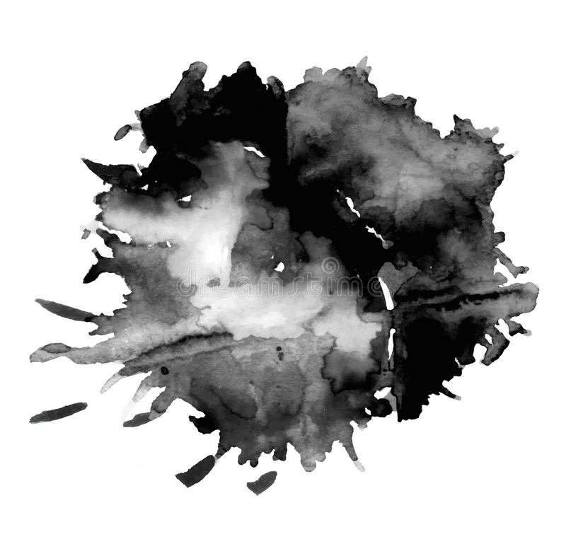 Black watercolor stain royalty free stock photography