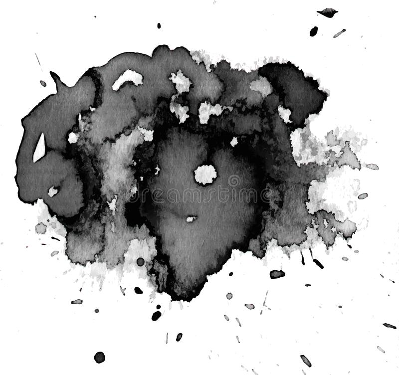 Black watercolor stain royalty free stock image