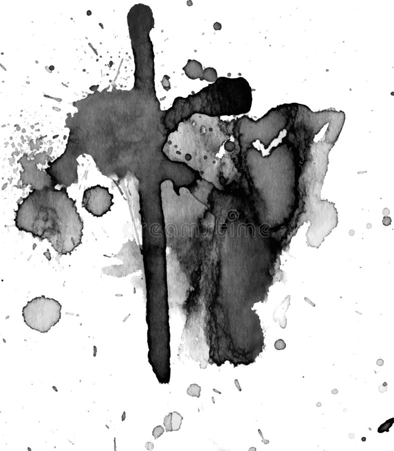 Black watercolor stain stock photos