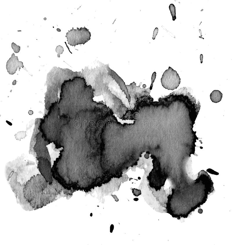 Black watercolor stain royalty free stock images