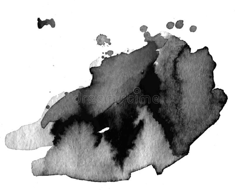 Black watercolor stain stock image