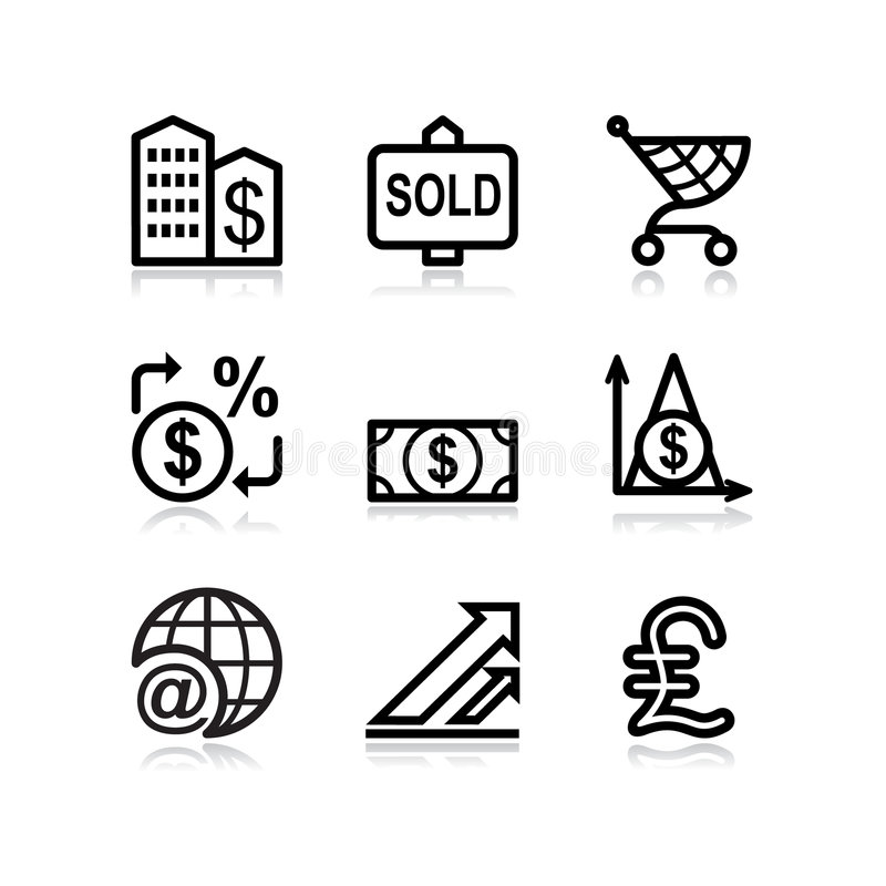 Black Web Icons, Set 23 Royalty Free Stock Photo