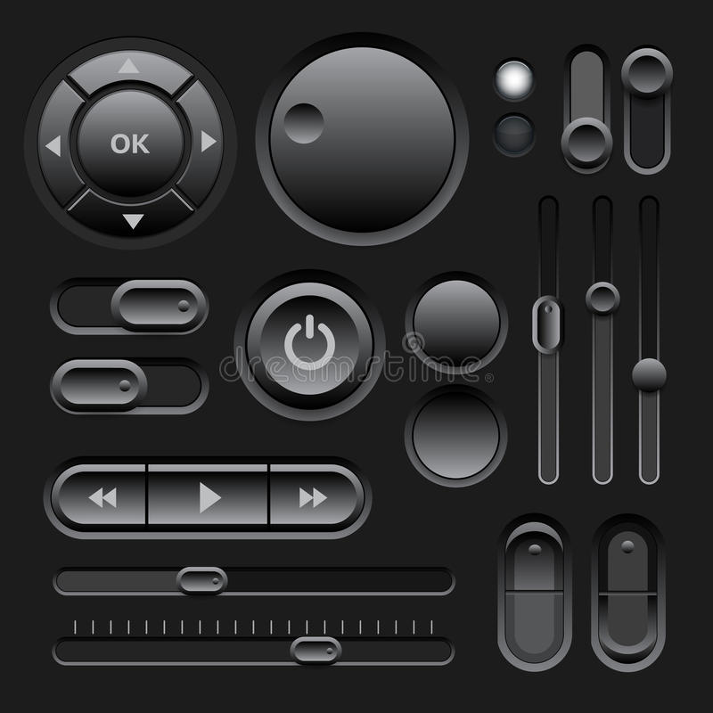 Black Web UI Elements Design. With Buttons, Switches, Sliders. Vector illustration stock illustration