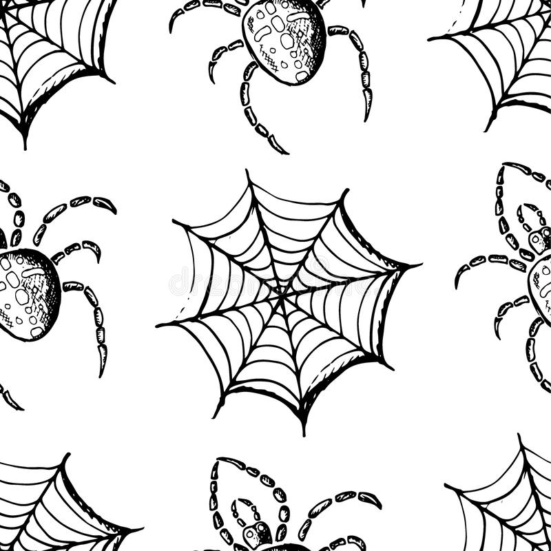Black webs and spiders. Seamless pattern, hand drawn set of halloween attributes, black webs and spiders royalty free illustration