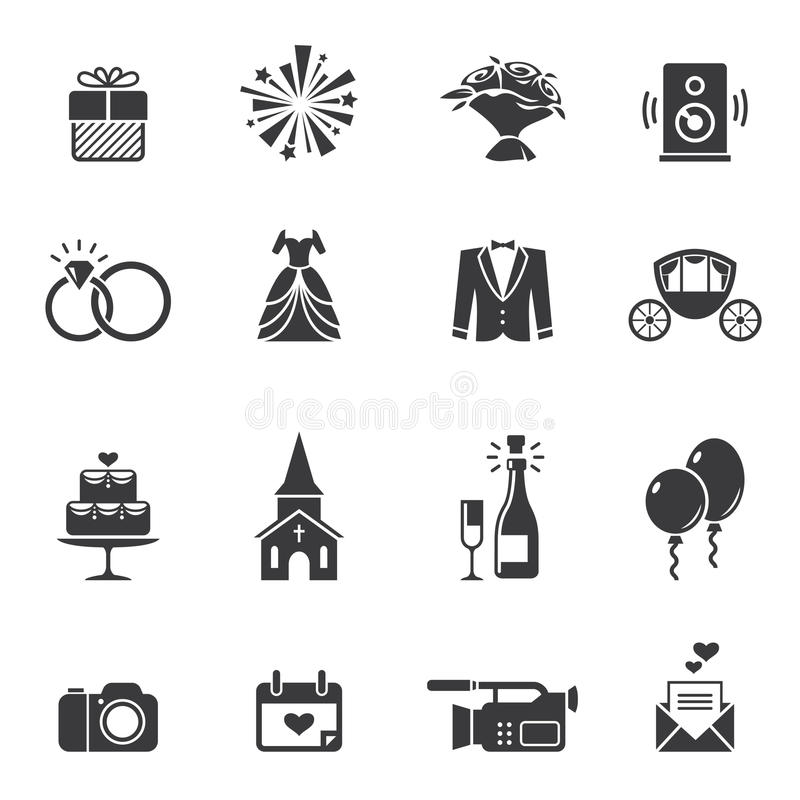 Black wedding icons royalty free illustration