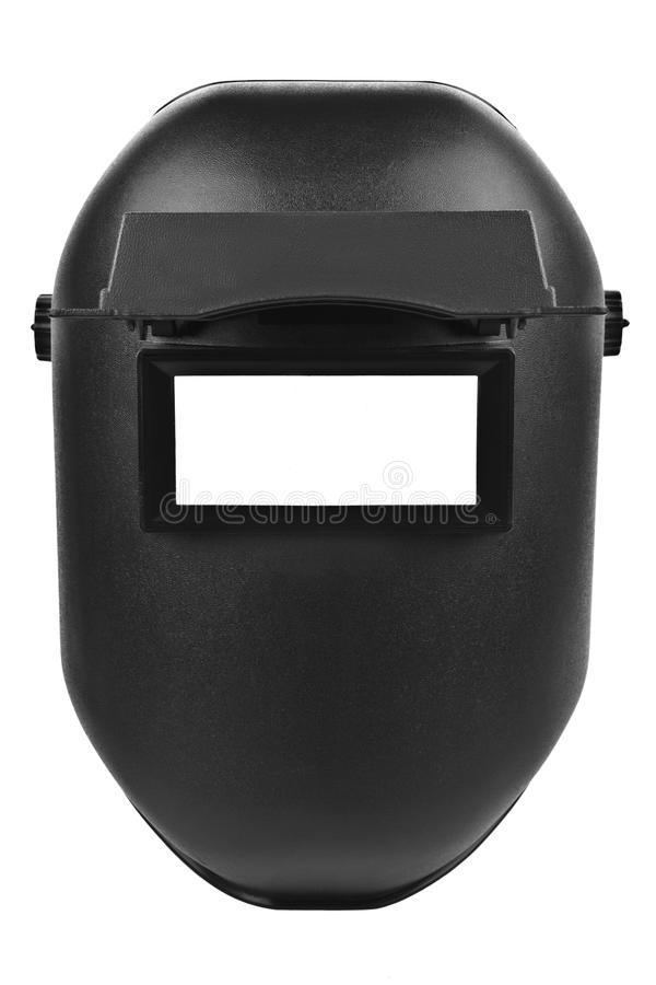 Black welding mask isolated. On pure white background royalty free stock photography