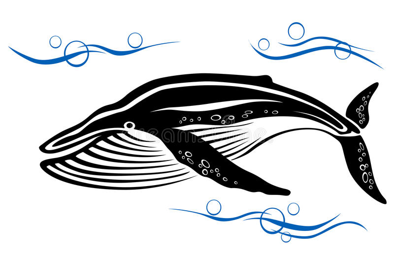 Download Black whale in ocean water stock vector. Image of background - 25320977