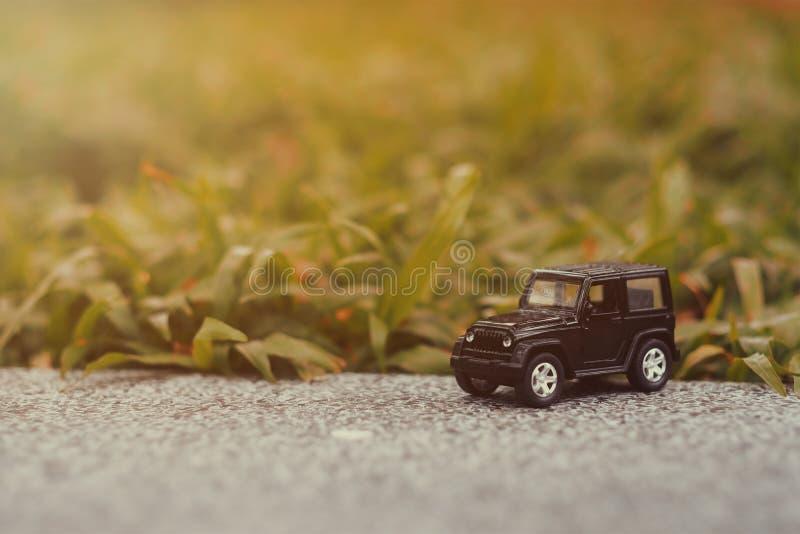 Black 4 wheel car model in the forest. Automobile, transport, vehicle, motor, machine, road, white, suv, sedan, design, universal, hatchback, business, mini stock photos
