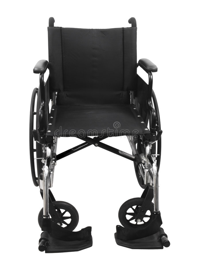 Black Wheel Chair. On an isolated white background royalty free stock images