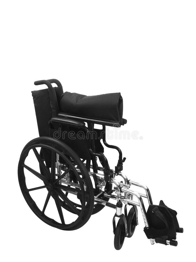 Black Wheel Chair. On an isolated white background stock photo