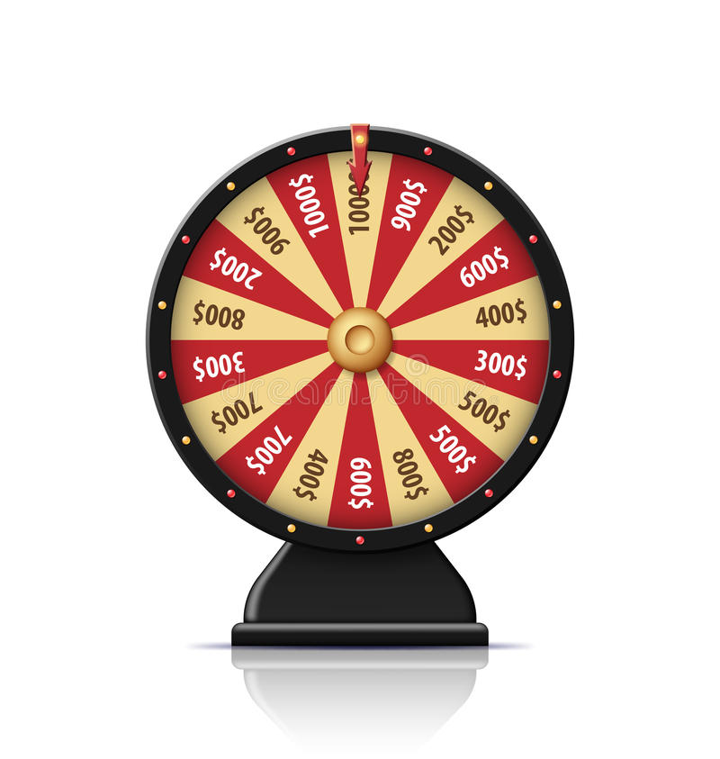 Black wheel of fortune 3d object isolated on white stock illustration