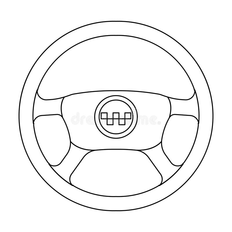 Black wheel with yellow emblem of taxi. The element to control the taxi car.Taxi station single icon in outline style. Black wheel with yellow emblem of taxi stock illustration