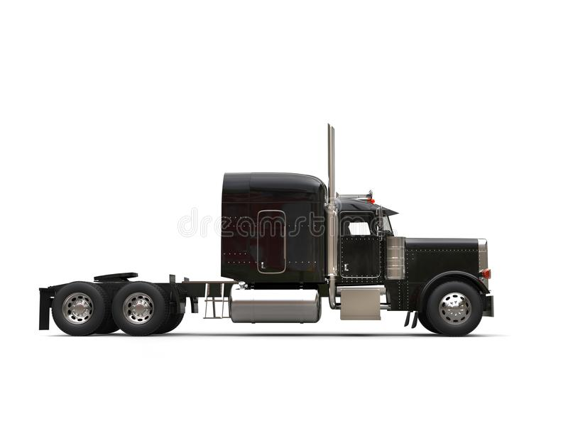 Black 18 wheeler truck - no trailer - side view. Isolated on white background stock illustration