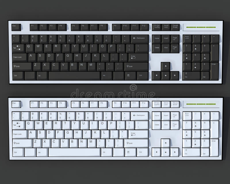 Download Black And White 3D Keyboards Stock Illustration - Image: 25237521