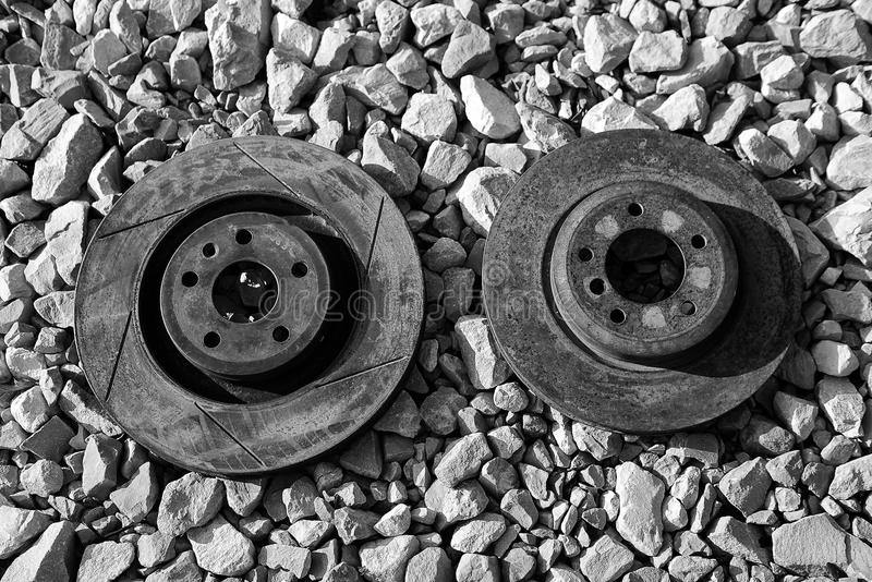Black and white abandoned and rusted brake rotors stock photos